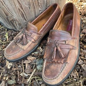 Bass flex men's brown leather loafers
